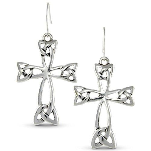 Religious Cross Polished Silver Tone Triquetra Earrings (Celtic Cross Drop Earrings)