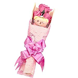 Abbie Home Flower Bouquet 3 Scented Soap Roses Gift Box with Cute Teddy Bear Birthday Mother's Day Valentine's Present-Pink 3