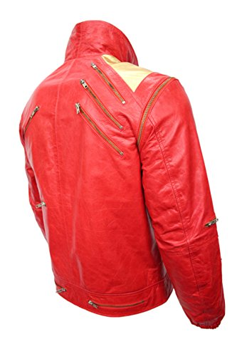 Nouveaux Hommes BEAT IT Or Rouge Michael Jackson Style MUSIQUE Real Sheep Leather Jacket