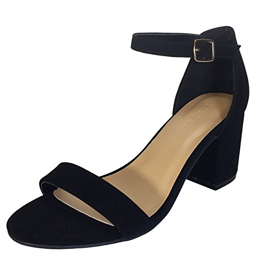 Bamboo Women's Block Heel Sandal with Ankle Strap, Black Nubuck PU, 7.0 B US