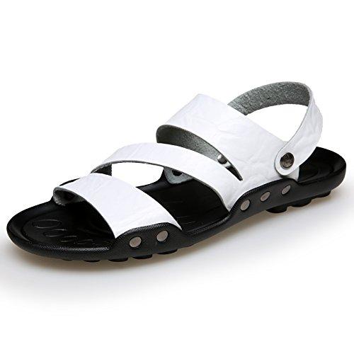 Xing Lin Sandalias De Hombre Los Hombres Zapatillas De Hombres Marea Antideslizante Sandalias De Playa 4728 Extra Grandes Zapatos Zapatos De Hombre Zapatillas De Verano Al Aire Libre, 47,551 Blanco