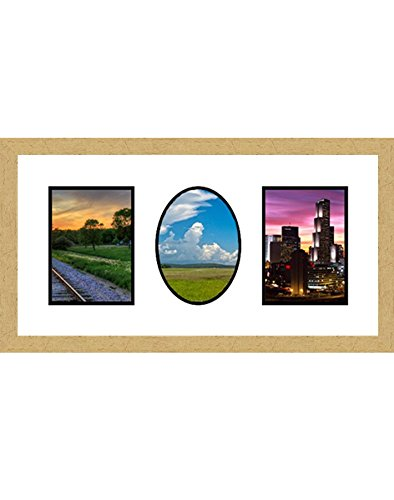 Frames by Mail multimat-58721-aam0114 Double Square Single Oval Opening Collage Frame for 3.5' x 5' Photo, Gold