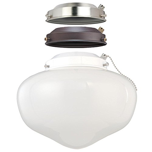 Westinghouse Lighting 7785200 LED Schoolhouse Indoor/Outdoor Energy Star Ceiling Fan Light Kit, Three Fitters with White Opal Glass ()