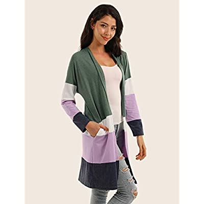 Blooming Jelly Women's Open Front Long Sleeve Colorblock Lightweight Cardigan with Pockets at  Women's Clothing store