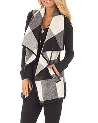 Womens+Plaid+Sleeveless+Drape+Open+Front+Cardigan+Vest+Jacket+Coat+M+Black