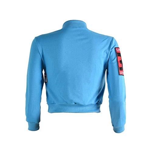 Giovane Donna Elegante Giubbino Jacket Cappotto Cute Ricamo Autunno Biker Moda Mini Primaverile Ragazze Blau Manica Cucitura Giacca Con Chic Cerniera Corto Lunga RRarqEpw