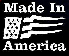 Made In America Flag Decal Vinyl Sticker|Cars Trucks Vans Walls Laptop| WHITE |5.5 x 4.25 in|CCI828