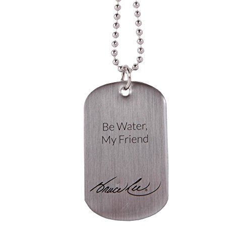 Bruce Lee Family Company Be Water My Friend Brushed Silver Stainless Steel Dog Tag Necklace with 24