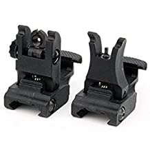 REALCERA Front and Rear Sight for AR-15 M16 Flat Top Rifles Low Profile Flip-Up Sight Set