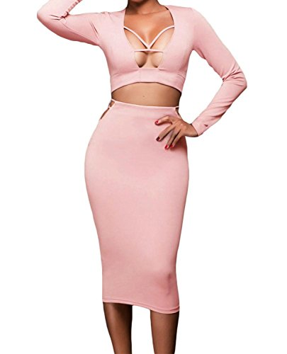 IF FEEL Women's Sexy Stretch Black Cut-out Accents Two-piece Skirt Set (S, Pink)