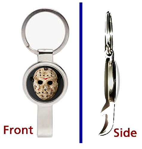 Friday the 13th Jason Voorhees Mask Pennant or Keychain Silver Tone Secret Bottle Opener -