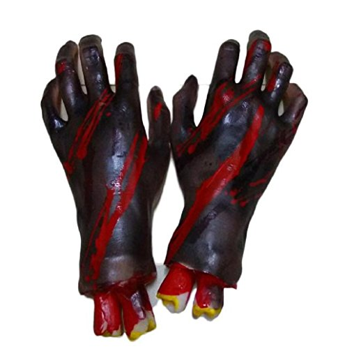 [Halloween Gift Mallcat Halloween Horror Props Bloody Hand Haunted Party Decoration] (Funny Bones Skeleton Costume)