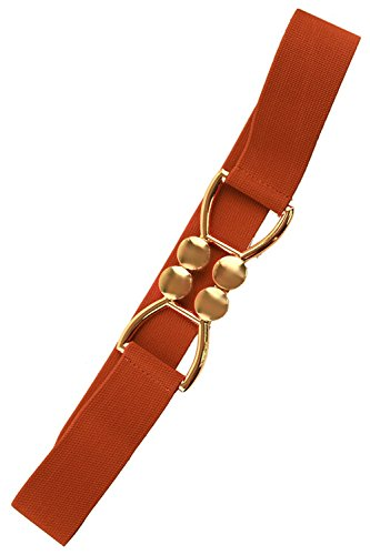 [TRENDY FASHION JEWELRY SYMMETRICAL D BUCKLE ELASTIC BELT BY FASHION DESTINATION | (Brown)] (Dallas Wholesaler Costumes Jewelry)