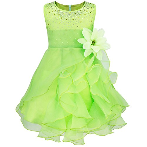 FEESHOW Baby Girls Rhinestone Organza Flower Christening Baptism Party Dress Lime Green 3T (Lime Flower Girl)