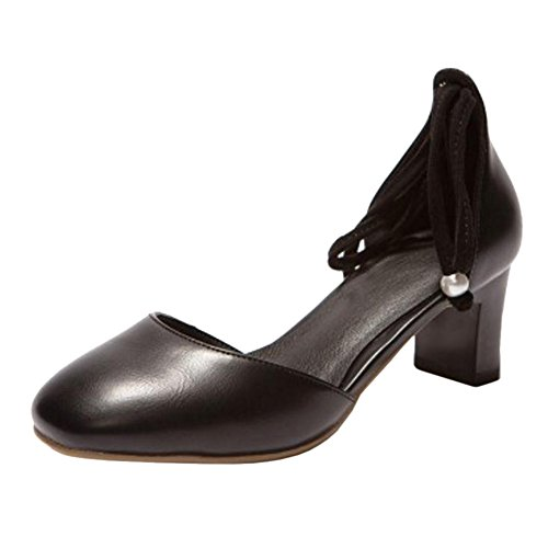 con Tacco Black TAOFFEN Scarpe Stringate Donna qwnzwx0It