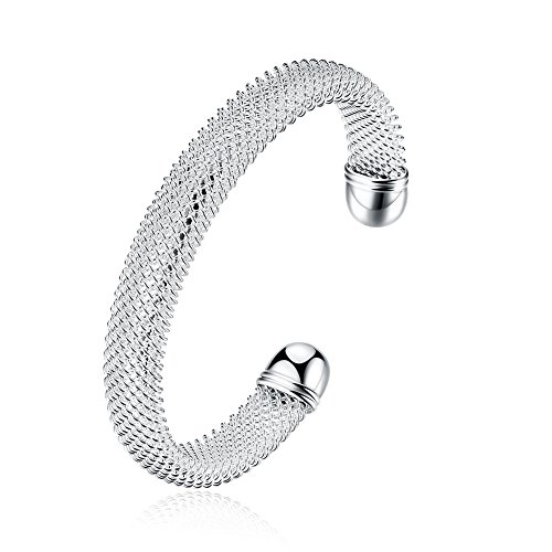 Huangiao Simple Cuff Bracelet 925 Sterling Silver Plated Bangle Bracelet Cable Wire Twisted Mesh Cuff Bangle Bracelets (Sterling Silver Round 925 Mesh)