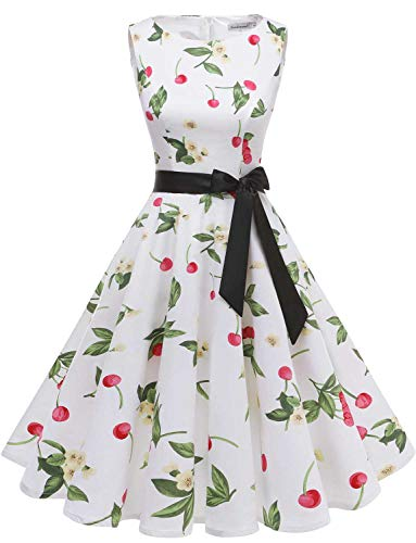 (Gardenwed Women's Audrey Hepburn Rockabilly Vintage Dress 1950s Retro Cocktail Swing Party Dress White Small Cherry L)