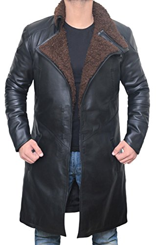 (Decrum Black Shearling Leather Trench Coat Mens Jacket | [1600333] Blade PU, M)