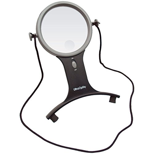 UltraOptix Lighted Hands Free Magnifier 2 5x with 6x Bifocal