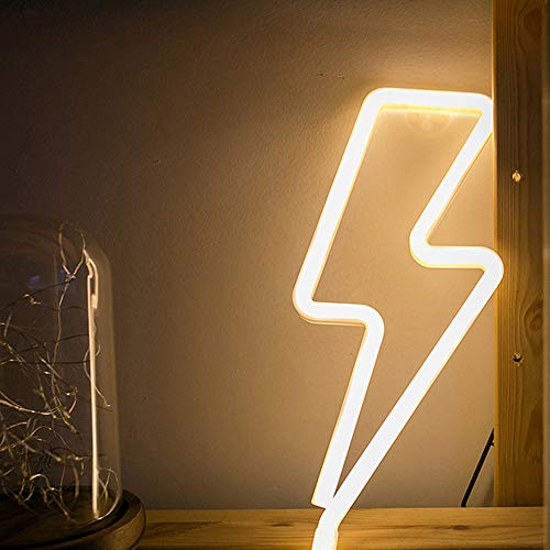 Warm White Neon Wall Light LED Lightning Sign Shaped Decor Light Wall Decor Lightning Neon Lights Battery/USB Operated Night light for Christmas Kids Room Living Room Wedding Party Decor