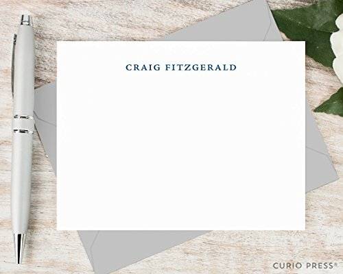 SIMPLICITY - Personalized Flat Stationery / Stationary Notecard And Envelope Set (Contemporary Stationary)