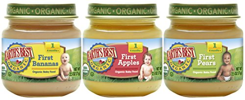 Earths Best Pear (Earth's Best Organic Stage 1 Baby Food, My First Fruits Variety Pack (Apples, Bananas, and Pears), 2.5 Ounce Jars, 12 Count)