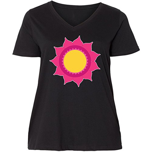 inktastic Pink Sun Mandala Ladies Curvy V-Neck Tee 4 (26/28) Black - Sun 4800