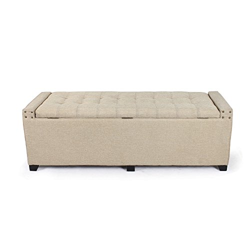 Adeco Fabric Sturdy Design Rectangular Tufted Lift Top Storage Ottoman Bench Footstool with Solid Wood Legs & Nail Head Trim - Light Beige, Natural - Padded Storage Bench