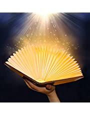Libro Lámpara LED Luces Plegables de Madera, Luz de Libro USB Recargable con batería 1700mAh/600 Lúmenes/Grande, Luz de Magnética Noche, Lámpara de Mesa para Decoración, Dormitorio, Creative Regalo