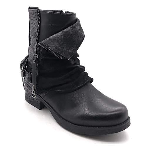 Intérieur Zip Talon Motard Mode Lanière matière Noir 3 Angkorly Fourrée Chaussure Bloc Tréssé Fermeture 5 Bi Couverte Cm Bottine Femme qTwPp7