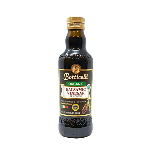 Botticelli Organic Balsamic Vinegar of Modena. Smooth, Dark and Authentic Vinegar Produced in Italy. Perfect for Dipping Bread or Cooking (16.9oz/500ml)