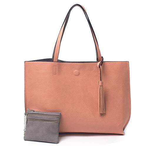 Women Large Reversible Tote Bag, Tassels Faux Leather Shoulder Handbags, Fashion Ladies Purses Satchel Messenger Bags - Handbag Leather Shoulder Faux