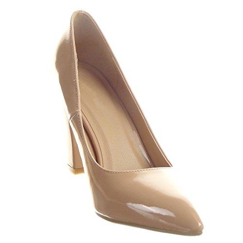 Sopily - Zapatillas de Moda Tacón escarpín Stiletto Tobillo mujer brillantes Talón Tacón ancho alto 9.5 CM - Caqui