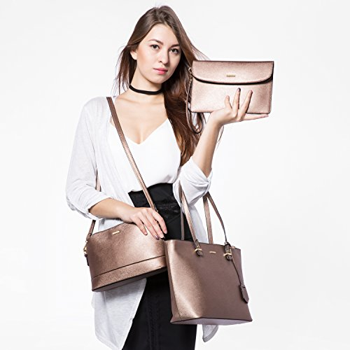 3pcs for Purse Women Tote Bronze Gold Hobo Shoulder Set Satchel Handbags Bags aCgSZqwx