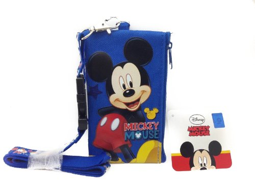 Disney Blue Mickey Lanyard Id Ticket Iphone Key Chain Badge Holder Wallet