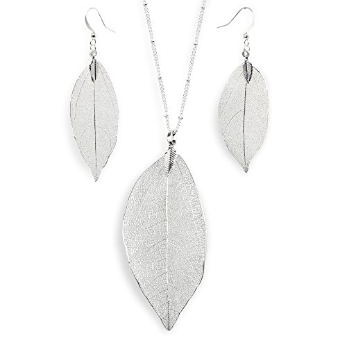 BOUTIQUELOVIN Silver Plated Filigree Autumn Leaf Pendant Necklace Earring Gift Set for Mom Girls
