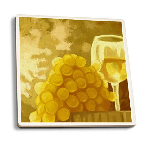Lantern Press White Grapes and Wine Glass - Oil Painting (Set of 4 Ceramic Coasters - Cork-Backed, Absorbent) ()
