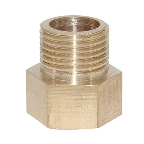 Dovewill Solid Brass Barbed Double End Male Hose to Female Hose Threaded Fitting Coupler Connector Joint - 1/2-1/2'' (1/2' Threaded Male Connectors)