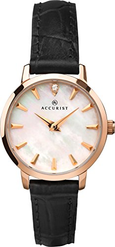 Accurist Ladies Analogue Quartz Watch With Mother Of Pearl Dial And Black Leather Strap 8230 (Ladies Watch Accurist)