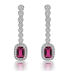 White Gold Tourmaline Citirine Drop Earring