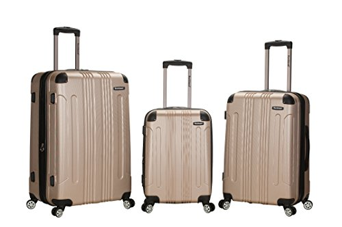 Rockland Luggage 3 Piece Abs Upright Luggage Set, Champagne, Medium by Rockland