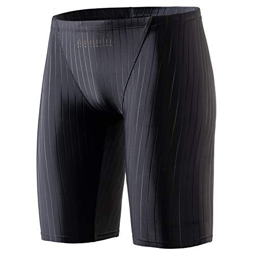 MY KILOMETRE Jammer Swimsuit Mens Solid Swim Jammers Black Endurance Long Racing Training ()