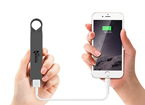 Phone Battery Charger Keychain (Power Brik Portable Charger Power Bank For Samsung, Android, iPhone Cell Phones iPads, iPods & Tablets, Waterproof 2600 mAh Capacity)