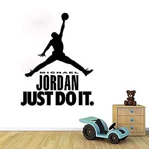 Jordan's Shot Silhouette Is Waterproof Against The Black Wall Sticker
