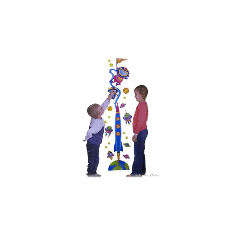 Kids Room Spaceship Wall Sticker Growth Height Chart