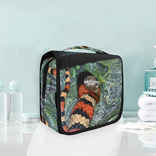 Makeup Bag Cosmetic Storage Bag Nature Texture Wildlife Snake Pattern Cave Jungle Toiletry Portable]()