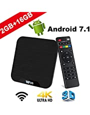 TV Box Android 7.1 - VIDEN W2 Smart TV Box Amlogic S905X Quad Core, 2GB RAM & 16GB ROM, 4K*2K UHD H.265, HDMI, USB*2, WiFi Media Player, Android Set-Top Box [Versión Mejorada]