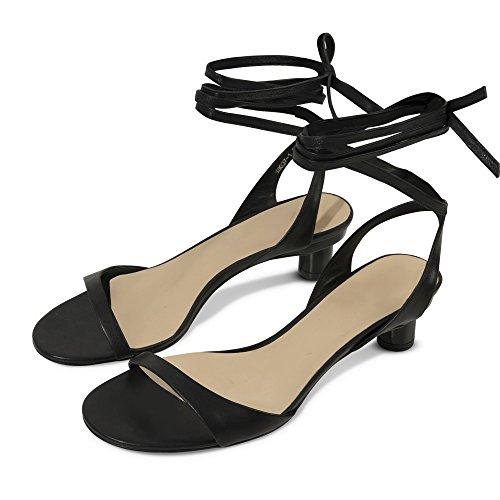 Verano de Dedos Ballet Correas DHG Simples Los de Expuestos con Negro con 34 Sandalias IvRXwna