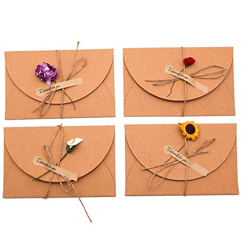 WSSROGY 12Pcs Dried Flowers Greeting Cards, Handmade Greeting Cards Thank You Flower Postcard for Any Occasions