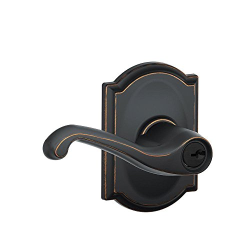 Schlage F51A FLA 716 CAM Flair Lever with Camelot Trim Keyed Entry Lock, Aged Bronze ()